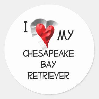 Amo mi perro perdiguero de bahía de Chesapeake Pegatinas