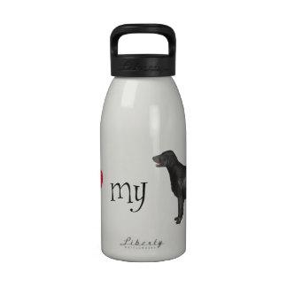 Amo mi perro perdiguero Plano-Revestido Botellas De Agua Reutilizables