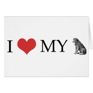 Amo mi perro tarjeta de felicitación