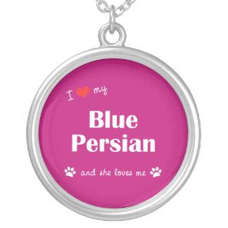 Amo mi persa azul (el gato femenino) colgante redondo