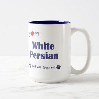 Amo mi persa blanco (el gato femenino) taza de café
