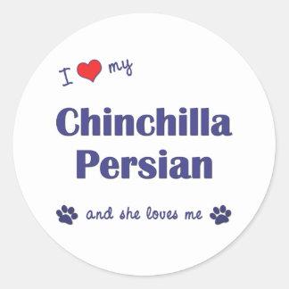 Amo mi persa de la chinchilla (el gato femenino) etiqueta redonda