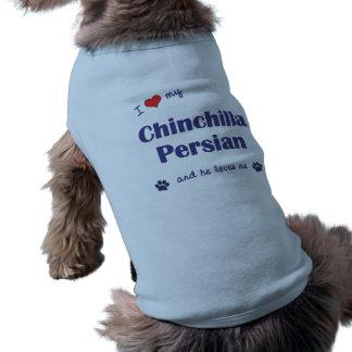Amo mi persa de la chinchilla el gato masculino camisetas de perro