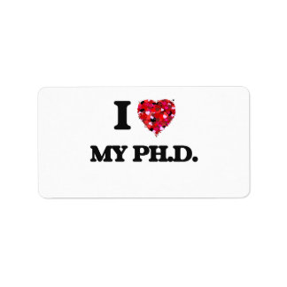 Amo mi Ph.D. Etiqueta De Dirección