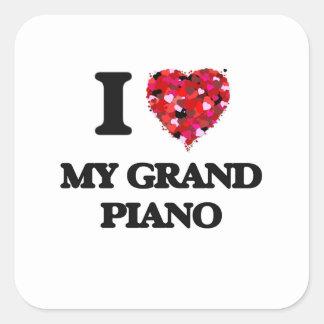 Amo mi piano de cola pegatina cuadrada