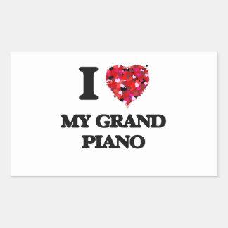 Amo mi piano de cola pegatina rectangular