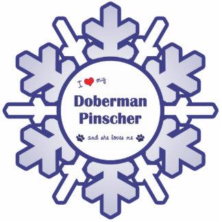 Amo mi Pinscher del Doberman (el perro femenino) Adorno Fotoescultura