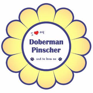 Amo mi Pinscher del Doberman (el perro masculino) Adorno Fotoescultura