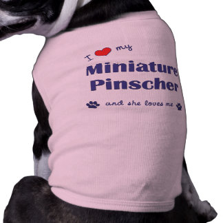 Amo mi Pinscher miniatura (el perro femenino) Playera Sin Mangas Para Perro