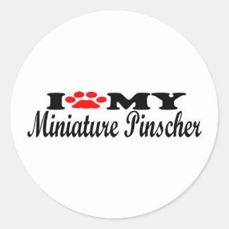 Amo mi Pinscher miniatura Pegatina Redonda