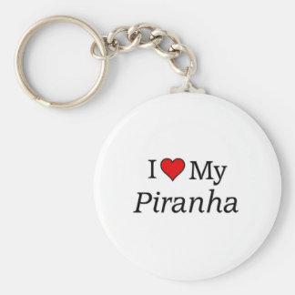 Amo mi piraña llavero redondo tipo pin