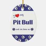 Amo mi pitbull (el perro femenino) ornamento para arbol de navidad