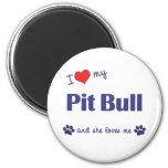 Amo mi pitbull (el perro femenino) imán de frigorifico