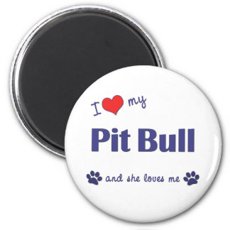 Amo mi pitbull (el perro femenino) imán redondo 5 cm