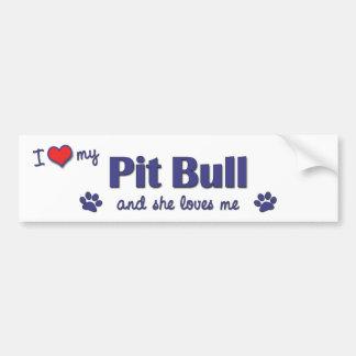 Amo mi pitbull (el perro femenino) pegatina para auto