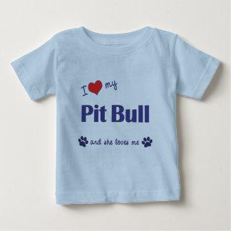 Amo mi pitbull (el perro femenino) playera de bebé