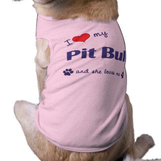 Amo mi pitbull (el perro femenino) playera sin mangas para perro