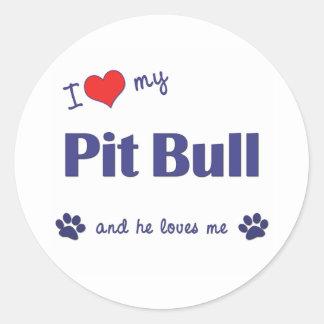 Amo mi pitbull (el perro masculino) pegatina redonda
