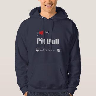 Amo mi pitbull (el perro masculino) suéter con capucha