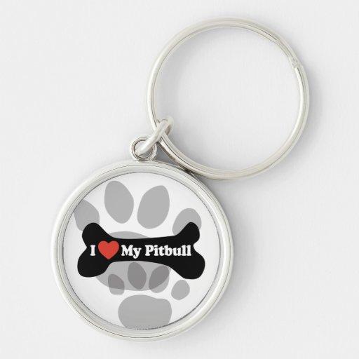 Amo mi Pitbull - hueso de perro Llavero Redondo Plateado