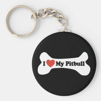 Amo mi Pitbull - hueso de perro Llavero Redondo Tipo Pin