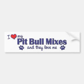 Amo mi pitbull me mezclo (los perros múltiples) etiqueta de parachoque