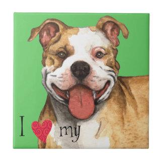Amo mi pitbull Terrier americano Azulejo Cuadrado Pequeño