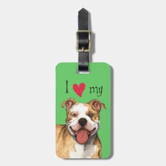 Amo mi pitbull Terrier americano Etiquetas Maleta