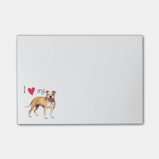 Amo mi pitbull Terrier americano Post-it® Nota