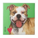 Amo mi pitbull Terrier americano Teja Cerámica