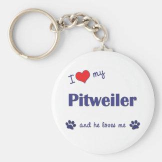 Amo mi Pitweiler (el perro masculino) Llavero Redondo Tipo Pin