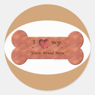 Amo mi plantilla de la galleta de la raza del pegatina redonda