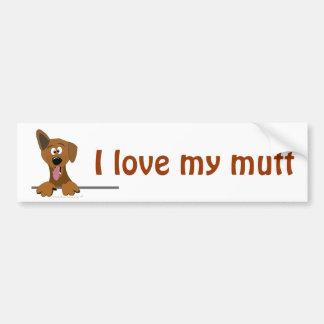 Amo mi plantilla del amante del perro del dibujo a etiqueta de parachoque