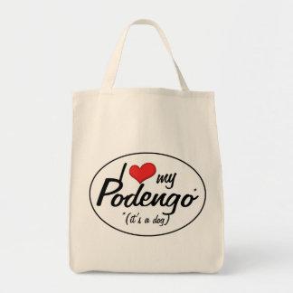 Amo mi Podengo es un perro Bolsa Lienzo