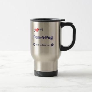 Amo mi Pom-UNO-Barro amasado (el perro masculino) Taza De Viaje De Acero Inoxidable