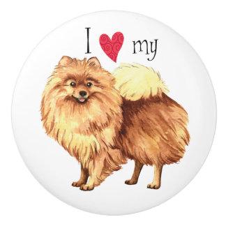 Amo mi Pomeranian Pomo De Cerámica