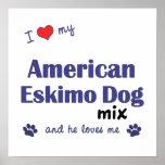 Amo mi poster americano de la mezcla del perro esq
