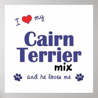 Amo mi poster de la mezcla de Terrier de mojón (pe Póster