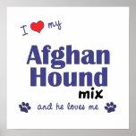 Amo mi poster de la mezcla del afgano (perro mascu