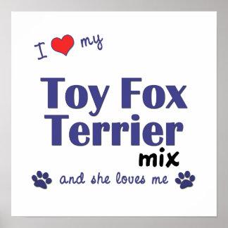 Amo mi poster de la mezcla del fox terrier del jug