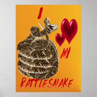 Amo mi poster de la serpiente de cascabel póster