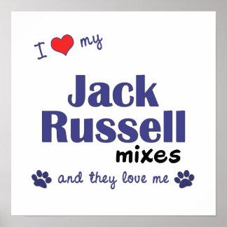 Amo mi poster de las mezclas de Jack Russell (perr Póster