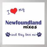 Amo mi poster de las mezclas de Terranova (perros
