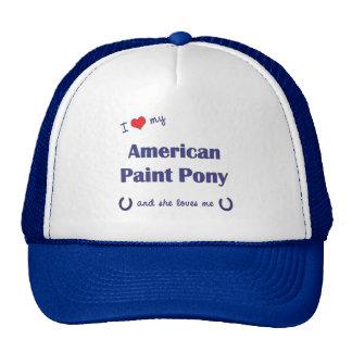Amo mi potro americano de la pintura (el potro fem gorros