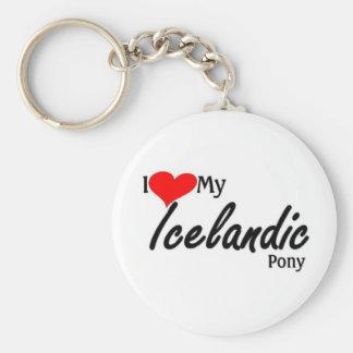 Amo mi potro islandés llavero redondo tipo pin