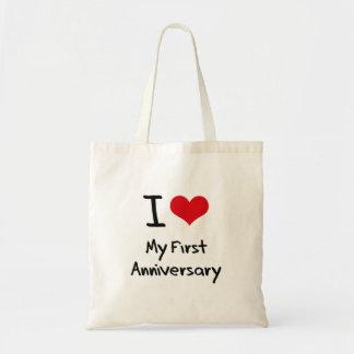 Amo mi primer aniversario bolsa tela barata