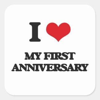 Amo mi primer aniversario calcomania cuadradas personalizada