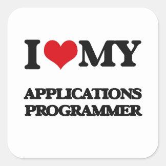Amo mi programador de los usos pegatina cuadrada
