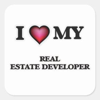 Amo mi promotor inmobiliario pegatina cuadrada