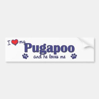 Amo mi Pugapoo (el perro masculino) Etiqueta De Parachoque